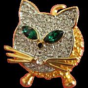 SALE Vintage Trembler Rhinestone Cat Pin