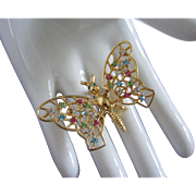 SALE Vintage Rhinestone Butterfly Trembler Pin