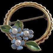 SALE Vintage Krementz Enamel Flowers, Cultured Pearls Pin Brooch