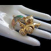 SALE Sweet Gold Tone Teddy Bear Pin with Enamel Umbrella