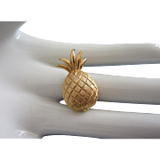 SALE Tiny Trifari Gold Tone Pineapple Pin