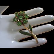 SALE Vintage Peridot Green Rhinestone and Enamel Flower Pin