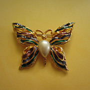 REDUCED Enamel and Faux Pearl Butterfly Pin Brooch, Signed ~ REDUCED!!