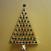 SALE Vintage Green and Red Rhinestone Christmas Tree Pin Brooch