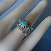 REDUCED Vintage Silver Tone and Turquoise Milk Glass Ring, Adjustable ~ REDUCED!!