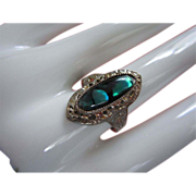 REDUCED Faux Abalone Cabochon and Silver Tone Ring, Size 10 ~ REDUCED!