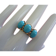 SALE Adjustable Ring with Turquoise Colored Cabochons