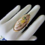 REDUCED Impressionist Style Floral Design Vintage Knuckle Ring, Adjustable Band ~ REDUCED!