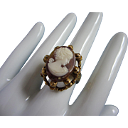 SALE Vintage Faux Carved Shell Cameo Ring, Adjustable