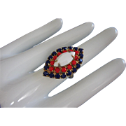 REDUCED Patriotic Ring with Red, White and Royal Blue Milk Glass Stones, Adjustable ~ REDUCED!