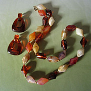 REDUCED Warm Brown, Cream and Amber Tones Lucite Necklace and Pierced Earrings