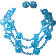 REDUCED West Germany Triple Strand Iridescent Turquoise Bead Necklace and Earring Set ~ REDUCE