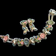 SALE Vintage Enamel Hummingbird and Flowers Slide Bracelet and Earrings Set