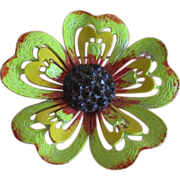 REDUCED DRASTIC REDUCTION ~Fabulous HEDY Enamel Flower Brooch and Earrings Set