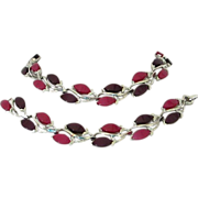 REDUCED Vintage Purple and Magenta Moonglow Lucite Necklace, Bracelet Set ~ REDUCED!