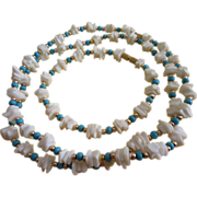 REDUCED Faux Turquoise and White Coral Necklace, Bracelet Set