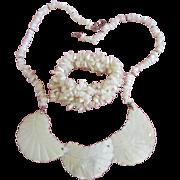 REDUCED Vintage Mother of Pearl Necklace and Bracelet Set ~ REDUCED!!