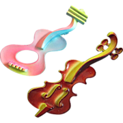 SOLD Modernist Enamel Violin and Guitar Figural Pins