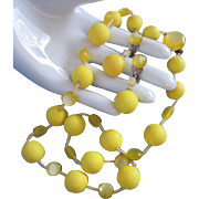 SALE Vintage Japan Sunny Yellow Lucite and Plastic Beads Necklace, Earrings Set