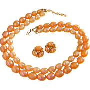 Vintage Iridescent Tangerine Moonglow Lucite Beaded Necklace and Earrings Set