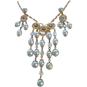 Ice Blue Faux Pearl, Crystals and Rhinestone Necklace, Chandelier Earrings Set