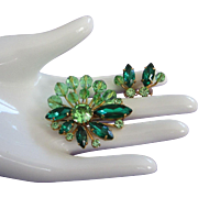 REDUCED Peridot Crystals, Rhinestones and Emerald Green Navettes Pin, Earrings Set ~ REDUCED!