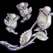 SALE Lisner Marcasite, Faux Pearl Rosebud, Flower Pin Earrings Set