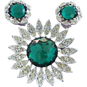 SALE Sarah Coventry Emerald Green and Clear Rhinestone Pin Brooch, Earrings