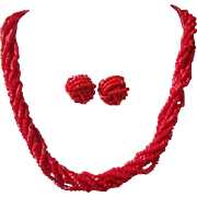 Vintage Red Glass Seed Bead Torsade Necklace and Pierced Earrings Set