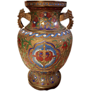 Champleve and Brass Japanese Vase