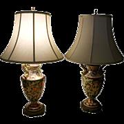 Vintage Italian Majolica Luster Lamp Pair
