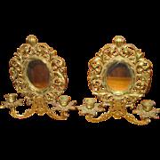 19th c. Pair Girandole Mirrored Brass Sconces