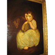 19th c. Oil Painting Little Girl with Grapes
