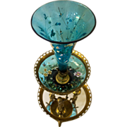 19th c. Figural Epergne with Bohemian Glass Inserts