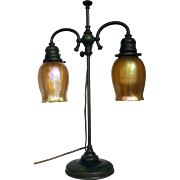 Tiffany Studios Double Art Glass Student Lamp