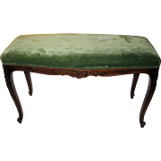 19th Century French Carved Walnut Bench