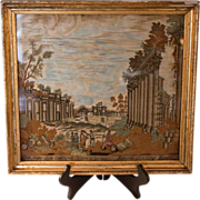 Silk Needlepoint Depicting North View  of the Quadrangle Ruins of Balbec