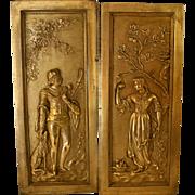 Victorian Cast Bronze Fireplace Insert Panels