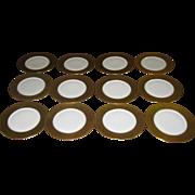 Bavarian Gold Rimmed Dinner Plates Set Twelve