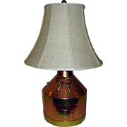English Copper Jug Made into Lamp