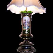 19th Century Austrian Art Glass Lamp