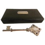 Vintage Cased Sterling Silver Presentation Key C. 1924