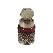 Cranberry Cut Crystal/Glass & Sterling Silver English Perfume Bottle