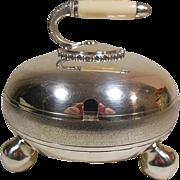 Silver Plate Condiment Bowl (Curling Stone Motif)