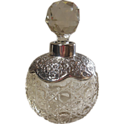 English Hallmarked Sterling Silver & Crystal Perfume Bottle