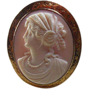 SALE 10 Karat Gold & Angel Skin Coral Cameo Pendant/Brooch Circa 1900