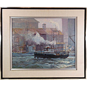 "SOLD Original Oil Painting "" Harbor Tug Boats"" G W Bates 1931-2009)"