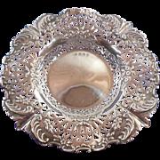 English Sterling Silver Pierced Bon Bon Dish Hallmarked 1897