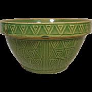 USA Green Glazed Pottery Kitchen Mixing Bowl Circa 1910-1940's(Heart Design)