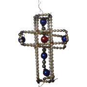 Czechoslovakian Mercury Glass Cross Christmas Ornament